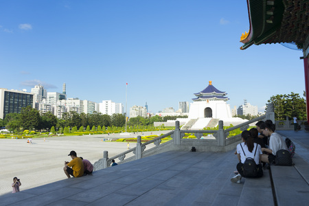 Chiang Kai-shek Memorial Hall against blue sky in Taipei,Taiwan. Editorial
