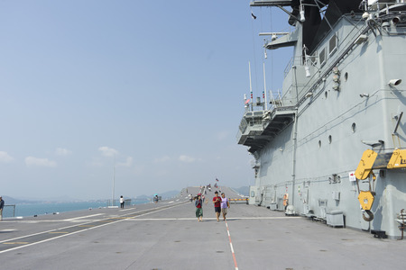 View of the HTMS Chakri Naruebet Ship with bluesky in Chonburi ,Thailand.
