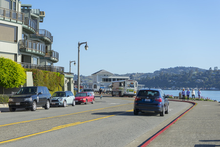 View of the beautiful house along the sea in the city of Sausalito, San Francisco,CA