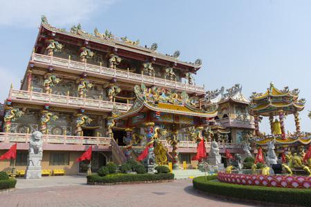 Beautiful and colorful detail of Naja Chinese shrine in Chonburi, Thailand