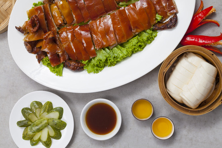 Delicious, Golden Roasted BBQ Suckling pig Cantonese Style. 写真素材