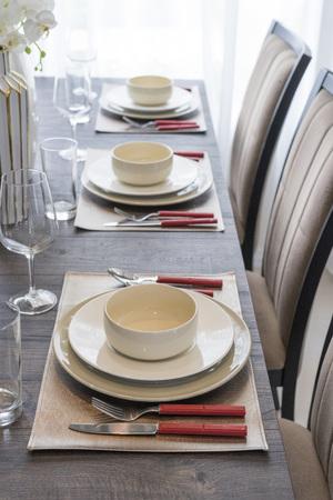 luxury plate setting on dinning table