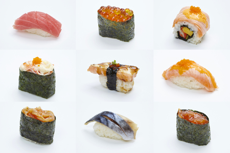 Sushi Roll - Maki Sushi pieces collection isolated on white background Stock Photo - 121247527