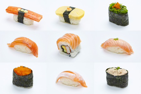 Sushi Roll - Maki Sushi pieces collection isolated on white background Stock Photo