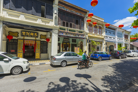 Old colonial building and street view around Sun Yat Sen Museum area in Penang, Malaysia Editorial