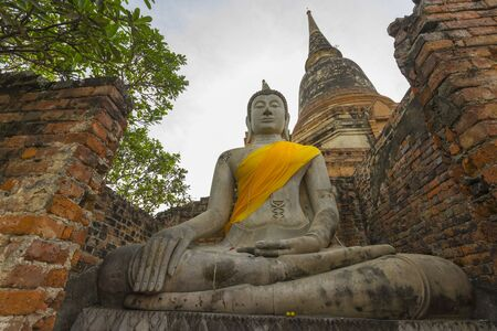 Buddha Statue at Wat Yai Chaimongkol, Ayutthaya, Thailand.