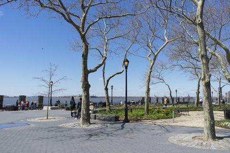 View of Battery Park and blue sky in New York City, NY