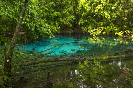 Emerald Pool (Sra Morakot) in Krabi province, Thailand. Beautiful nature scene of crystal clear blue water in tropical rainforest.