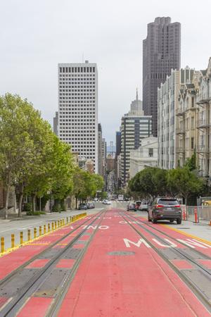 Street view at California St looking through the Bay Bridge in San Francisco,USA