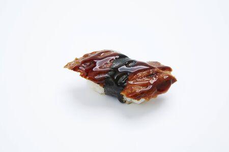 Eel Unagi sushi close up isolated on a white background Stock Photo