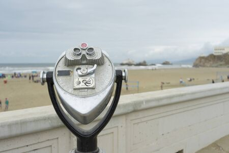Coin operated binoculars at the Ocean Beach Fire Pits in San Francisco,CA