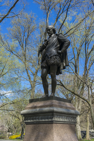 Statue of William Shakespeare by the American sculptor John Quincy Adams Ward was erected in the Central Park in 1872.