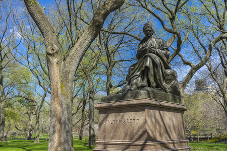 Statue of Walter Scott in Central Park, New York,USA