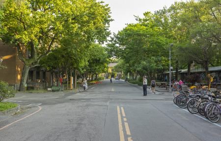 Street view of National Taiwan University at twilight time in Taipei, Taiwan