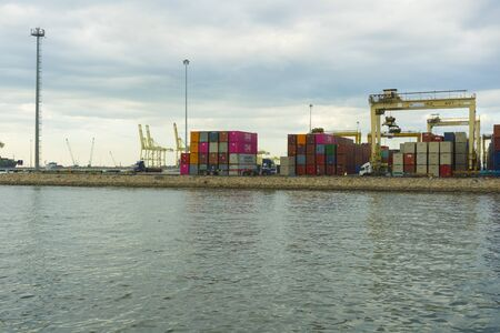 Panoramic view of Penang Port in Butterworth, Malaysia Stock Photo