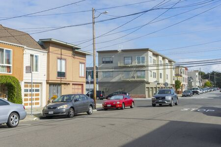 Street view of building and atmosphere of Outer Sunset district in San Francisco, California,USA