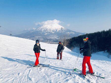 La pista da sci del Monte Niseko. Resort Grand Hirafu a Niseko, Hokkaido, Giappone Archivio Fotografico