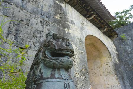 Shisa (guardian lion) in Shuri castle, Naha, Okinawa, Japan.