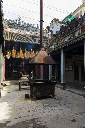 Interior view of Chua Ba Thien Hau temple in Ho Chi Minh City, Vietnam