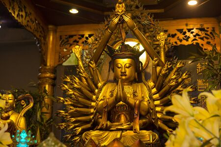 Beautiful golden buddha in Thousand Buddha Temple or Chua Van Phat temple in Ho Chi Minh City, Vietnam