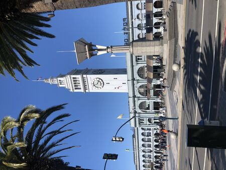 The Embarcadero street leading to Ferry Building Marketplace in San Francisco,California Stok Fotoğraf