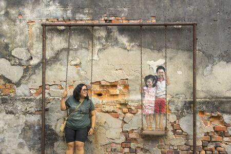 Street-Art-Wandbild in Georgetown, Penang in Malaysia.
