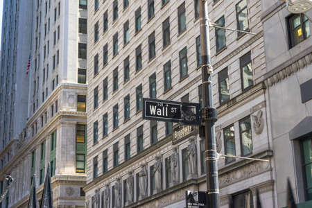 Sign on the Wall Street,NYC,USA. Editorial