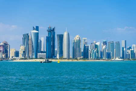 View of modern skyscrapers and west bay in Doha, Qatar