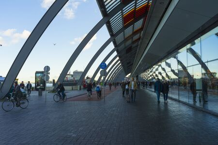 the bus terminal station in the Amsterdam Centraal in Amsterdam, Netherlands