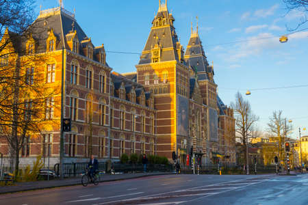 Rijksmuseum in beautiful morning sunrise in Amsterdam, Netherlands Editorial