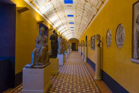 Row of sculpture on display inside Thorvaldsens Museum in Copenhagen, Denmark