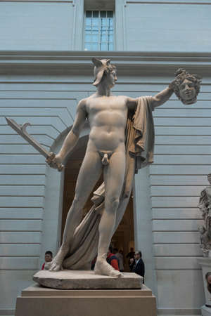 Gallery containg famous sculptures at the Metropolitan Museum of Art in New York.