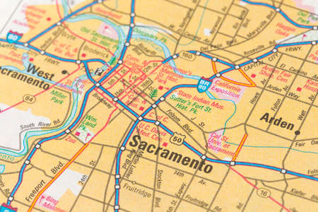Geographical map location of Sacramento city of United States of America.