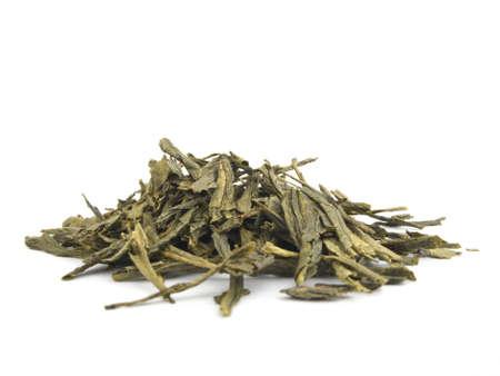 sencha: A pile of dried sencha green tea