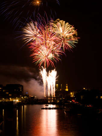 Fireworks over harbour photo