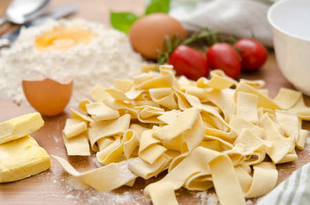 Ingredients for tagliatelle with tomato sauce