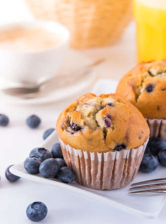 Blueberry muffins with a breakfast setting Stock Photo - 17468890