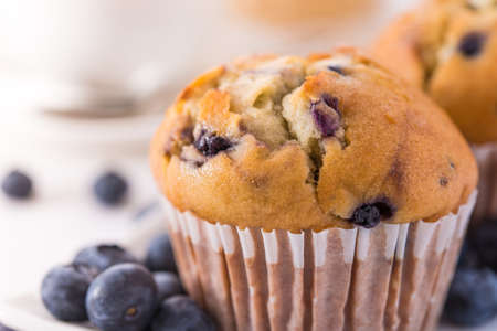 Blueberry muffins with a breakfast setting Stock Photo - 17468886
