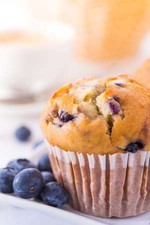 Blueberry muffins with a breakfast setting Stock Photo - 17468882