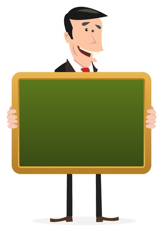man and banner: Illustration of cartoon man holding a school blackboard