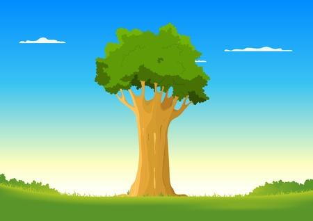 Illustration of a beautiful oak tree inside fieds Vector
