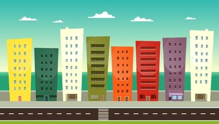 Ilustración de una ciudad cerca del mar de dibujos animados para las vacaciones de verano Ilustración de vector