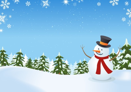 Illustration of a snowman inside winter landscape with pine trees, firs and space for  your message Stock Vector - 11219239