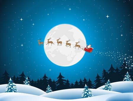 tra�neau: Illustration de Santa conduire le tra�neau et ses rennes � travers la nuit