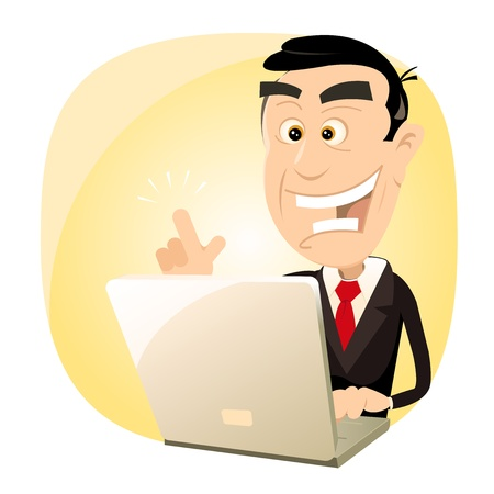 Illustration of a cartoon happy businessman finding success on his laptop computer Vector