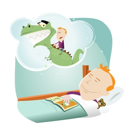 Illustration of a cartoon young boy dreaming of friendschip with a dinosaur Illustration