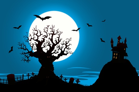 Illustration of a halloween poster background, with haunted house, graveyard  and other elements from halloween imagery Illustration