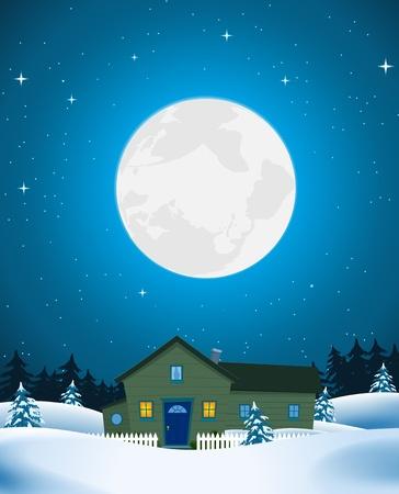Illustratie van een huis of lodge in de winter sneeuw landschap in het maanlicht