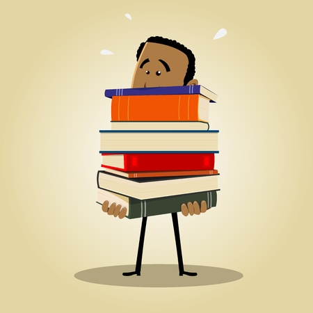 Illustration of an afro man busy librarian holding a pile of books Vector