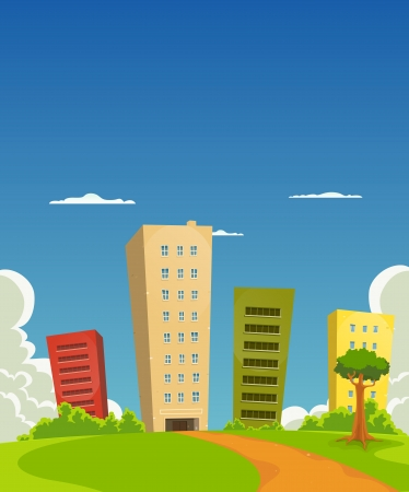 home  building: Illustration of a group of cartoon residential and office building tower